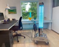 UV TOWERx8 disinfecting office